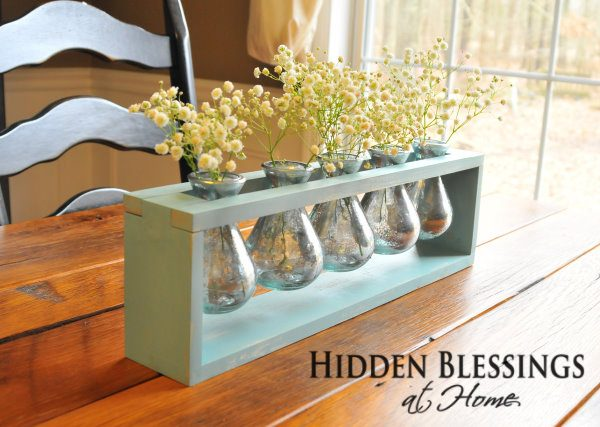 Table Centerpiece Pale Blue with Mercury Glass Vase