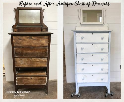 Before and After Anqitue Chest of Drawers Blue White